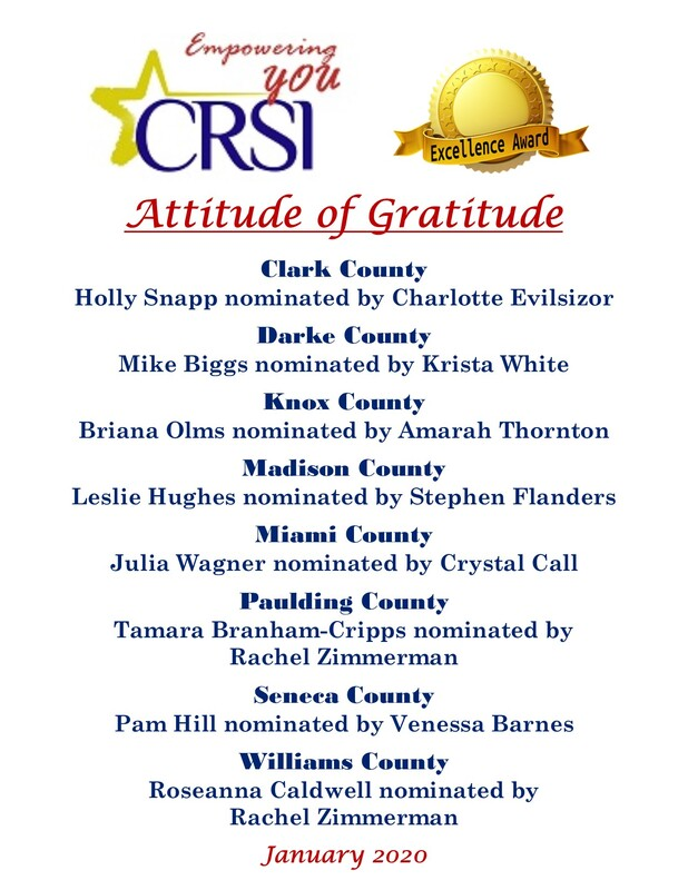 CRSI January Attitude of Gratitude Nominees