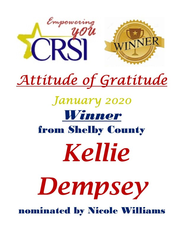 CRSI January Attitude of Gratitude Winner